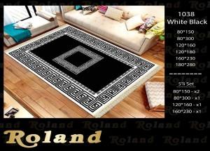 Roland 5er Teppich Set Waschbar 1038WhiteBlack