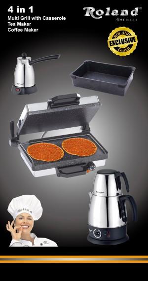 Roland 4in1 Set Multigrill Kasserolle Teekocher Kaffeekocher Lahmacun Cay Kahve