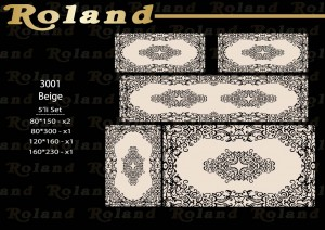 Roland 5er Teppich Set Waschbar 3001 Beige