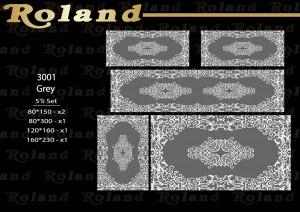 Roland 5er Teppich Set Waschbar 3001 Grey