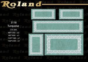Roland 5er Teppich Set Waschbar 3118 Türkis