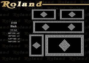 Roland 5er Teppich Set Waschbar 3159 Black