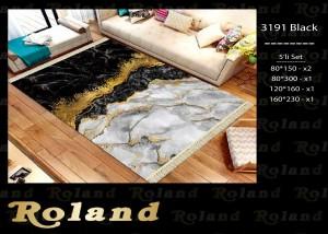 Roland 5er Teppich Set Waschbar 3191 Black
