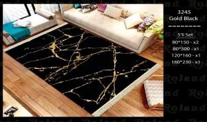 Roland 5er Teppich Set Waschbar 3245 Gold Black