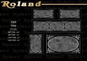 Roland 5er Teppich Set Waschbar 3305 Grey