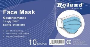 Roland Einweg 10er Gesichtsmaske für Mund-und Nasenschutz
