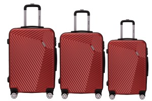 Reisekoffer SET 3tlg. Hartschalen Trolley Handgepäck Kofferset Bordgepäck Wine Red