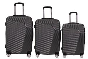 Reisekoffer SET 3tlg. Hartschalen Trolley Handgepäck Kofferset Bordgepäck Dark Grey