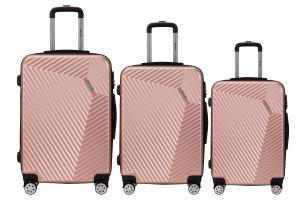 Reisekoffer SET 3tlg. Hartschalen Trolley Handgepäck Kofferset Bordgepäck Rose