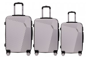 Reisekoffer SET 3tlg. Hartschalen Trolley Handgepäck Kofferset Bordgepäck Silver