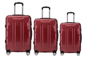 Reisekoffer SET 3tlg. Hartschalen Trolley Handgepäck Kofferset Bordgepäck Red