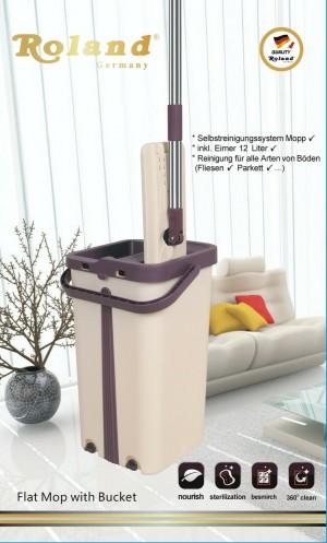 Roland Wischmop Mopp Bodenwischer Set Komfort-Flat Mop Bodenreiniger+Wischsystem